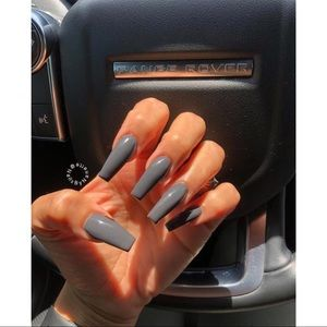 ✨Serene Gray Coffin Shaped Press on Nails✨